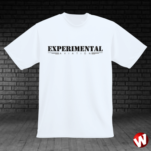 Experimental Aviation (black ink, white t-shirt). Windtee aviation t-shirts and custom graphics.