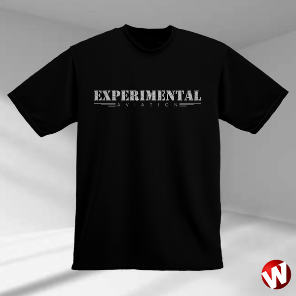 Experimental Aviation (gray ink, black t-shirt). Windtee aviation t-shirts and custom graphics.