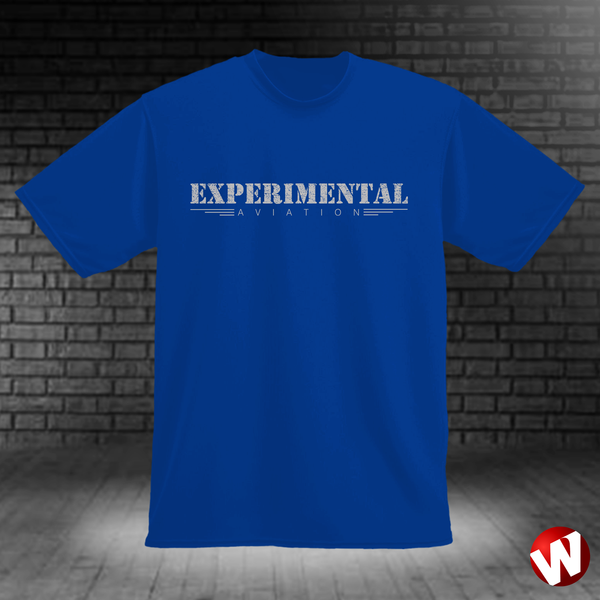 Experimental Aviation (gray ink, royal t-shirt). Windtee aviation t-shirts and custom graphics.