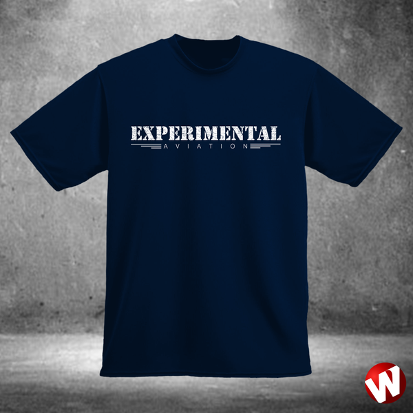 Experimental Aviation (white ink, navy t-shirt). Windtee aviation t-shirts and custom graphics.