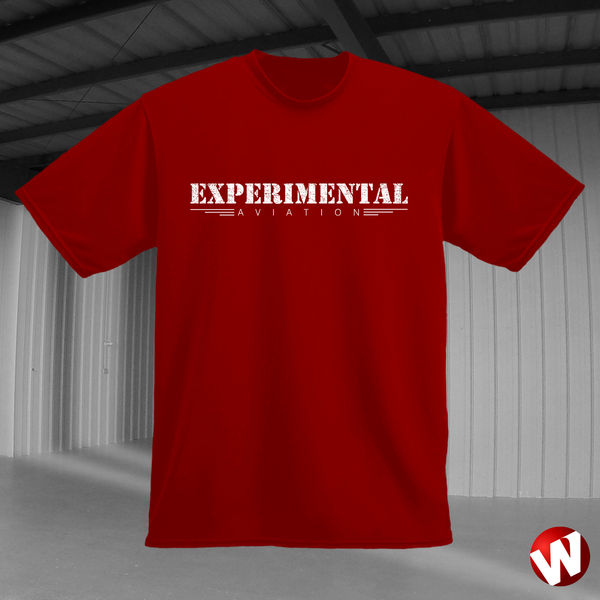 Experimental Aviation (white ink, red t-shirt). Windtee aviation t-shirts and custom graphics.