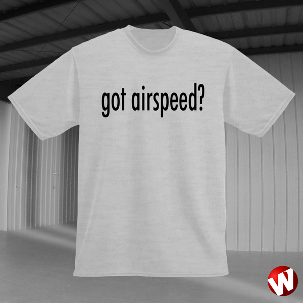 Got Airspeed? (black ink, ash t-shirt). Windtee aviation t-shirts and custom graphics.