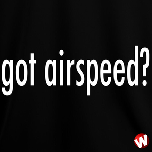 Got Airspeed? (white ink, black t-shirt). Windtee aviation t-shirts and custom graphics.