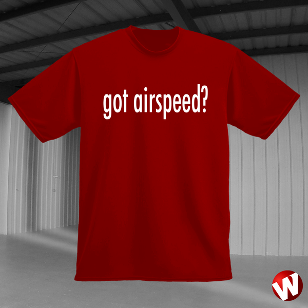 Got Airspeed? (white ink, red t-shirt). Windtee aviation t-shirts and custom graphics.