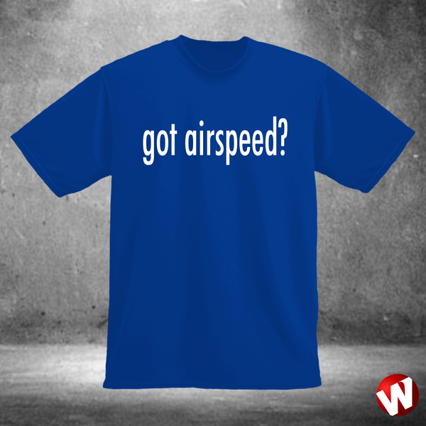 Got Airspeed? (white ink, royal t-shirt). Windtee aviation t-shirts and custom graphics.