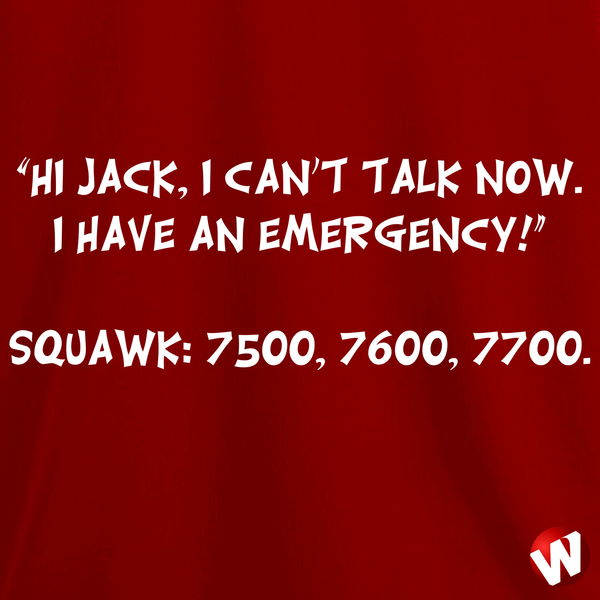 Hi Jack, I can't talk now. I have an emergency! (white ink, red t-shirt). Windtee aviation t-shirts and custom graphics.