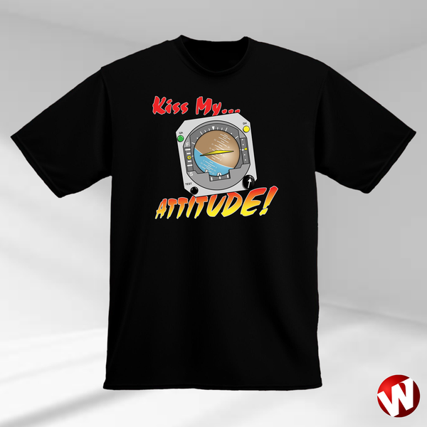 Kiss My... Attitude! (multi-color ink, black t-shirt). Windtee aviation t-shirts and custom graphics.