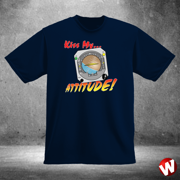 Kiss My... Attitude! (multi-color ink, navy t-shirt). Windtee aviation t-shirts and custom graphics.