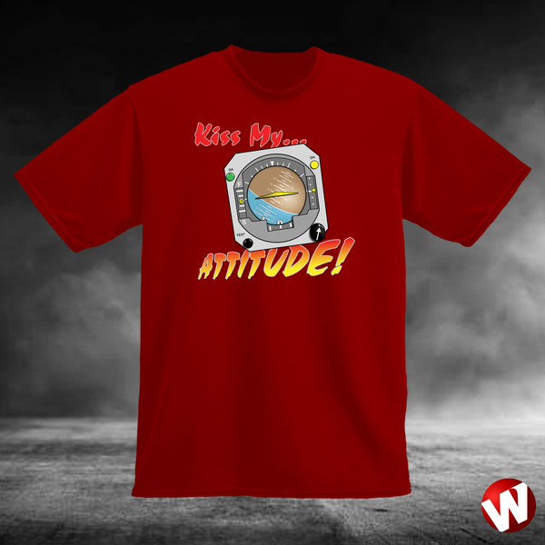 Kiss My... Attitude! (multi-color ink, red t-shirt). Windtee aviation t-shirts and custom graphics.