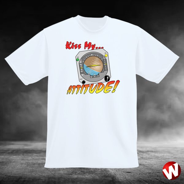 Kiss My... Attitude! (multi-color ink, white t-shirt). Windtee aviation t-shirts and custom graphics.