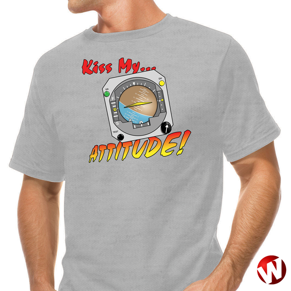 Kiss My... Attitude! (multi-color ink, ash t-shirt). Windtee aviation t-shirts and custom graphics.