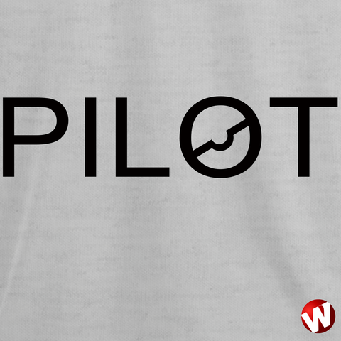 PILOT (chest graphic, black ink, ash t-shirt). Windtee aviation t-shirts and custom graphics.