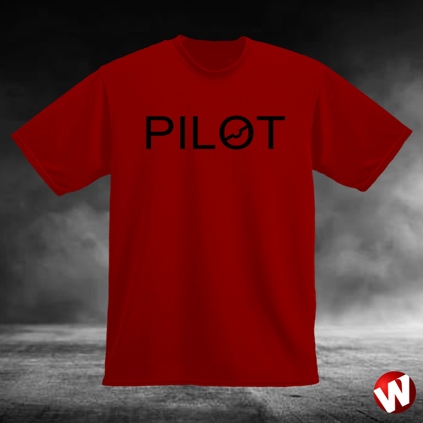 PILOT (chest graphic, black ink, red t-shirt). Windtee aviation t-shirts and custom graphics.