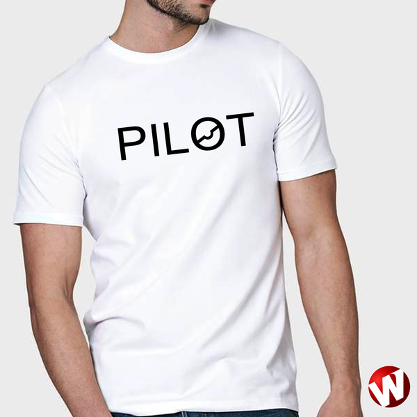 PILOT (chest graphic, black ink, white t-shirt). Windtee aviation t-shirts and custom graphics.