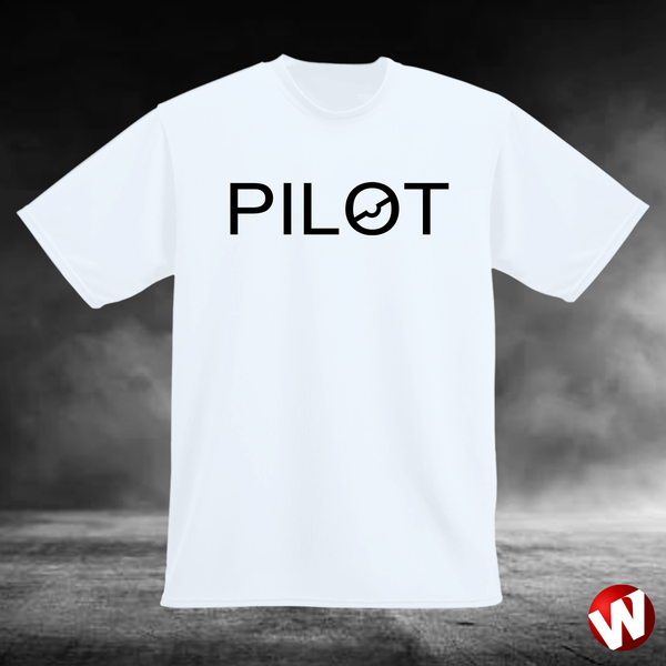 PILOT (chest graphic, black ink, white t-shirt), Windtee aviation graphics and t-shirts.