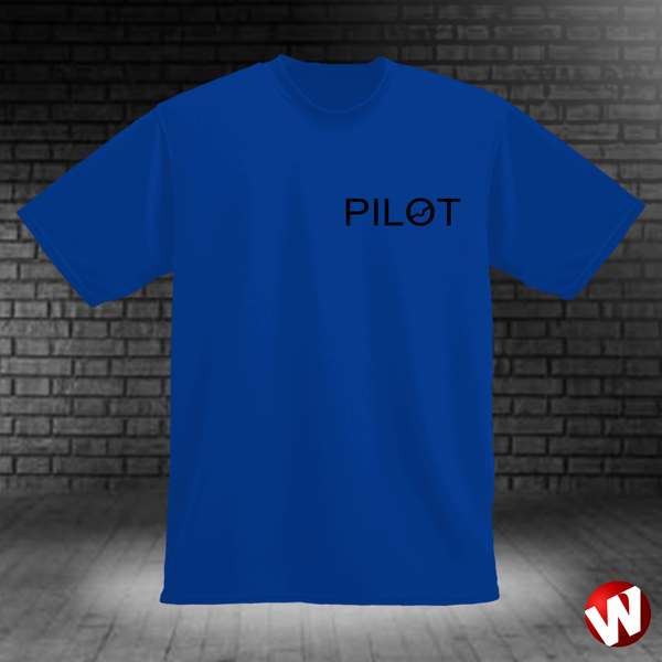 PILOT (small graphic, black ink, royal t-shirt). Windtee aviation t-shirts and custom graphics.