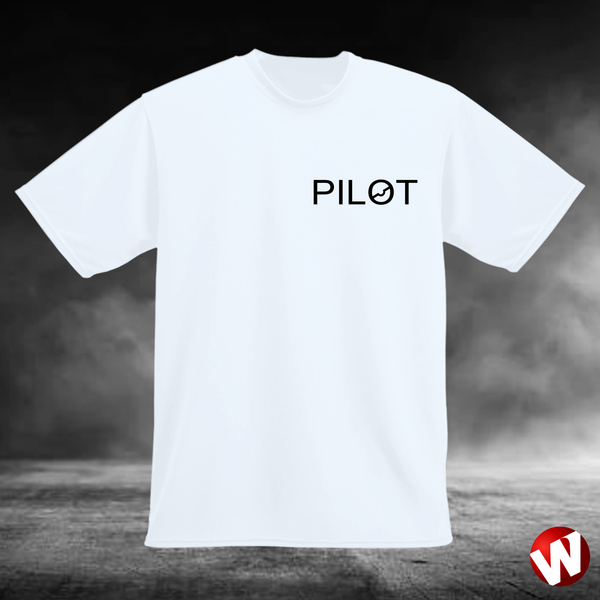 PILOT (small graphic, black ink, white t-shirt). Windtee aviation t-shirts and custom graphics.