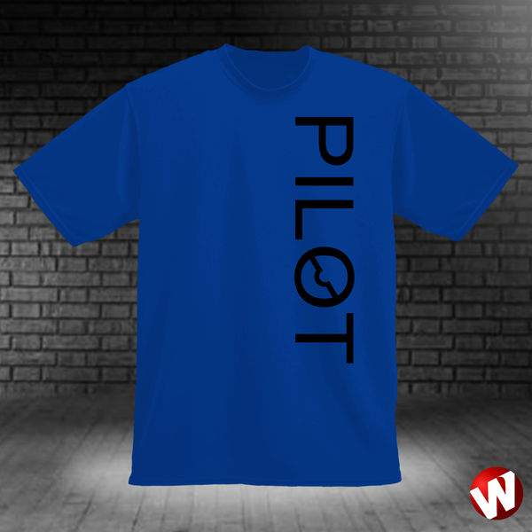 PILOT (vertical graphic, black ink, royal t-shirt). Windtee aviation t-shirts and custom graphics.