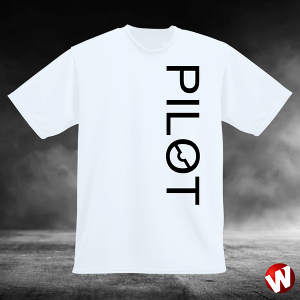 PILOT (vertical graphic, black ink, white t-shirt). Windtee aviation t-shirts and custom graphics.