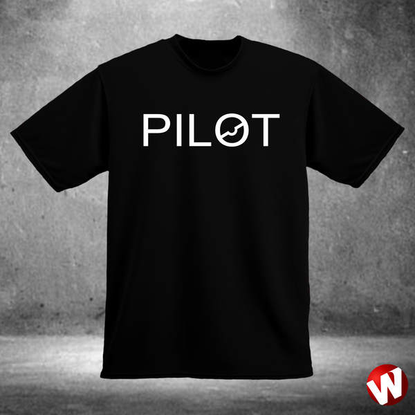 PILOT (chest graphic, white ink, black t-shirt). Windtee aviation t-shirts and custom graphics.