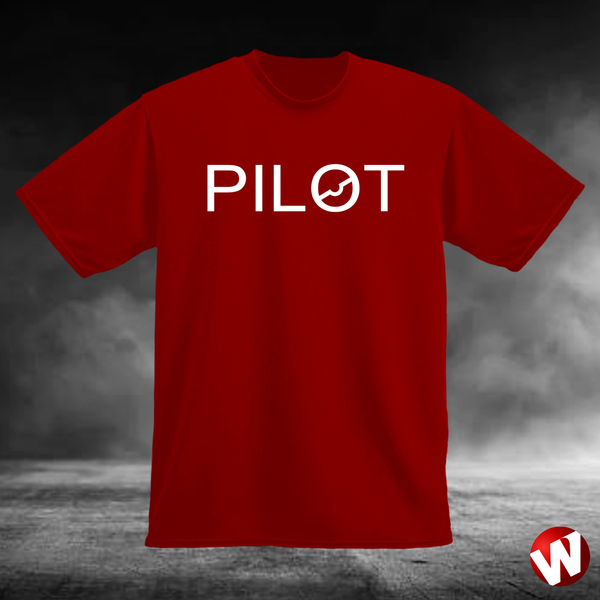 PILOT (chest graphic, white ink, red t-shirt). Windtee aviation t-shirts and custom graphics.