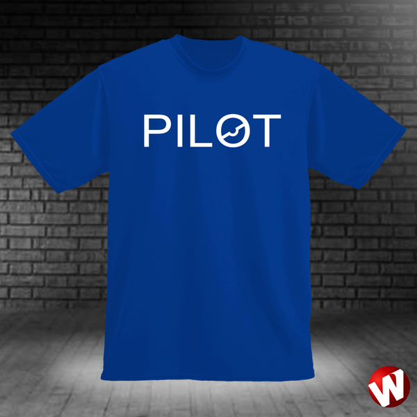 PILOT (chest graphic, white ink, royal t-shirt). Windtee aviation t-shirts and custom graphics.