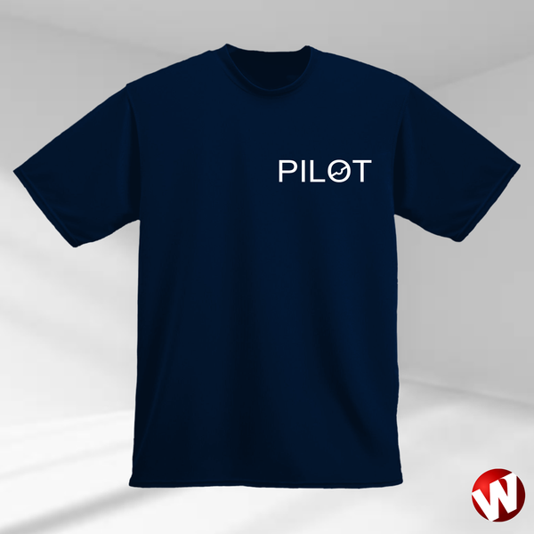 PILOT (small graphic, white ink, navy t-shirt). Windtee aviation t-shirts and custom graphics.