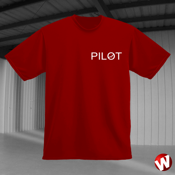 PILOT (small graphic, white ink, red t-shirt). Windtee aviation t-shirts and custom graphics.