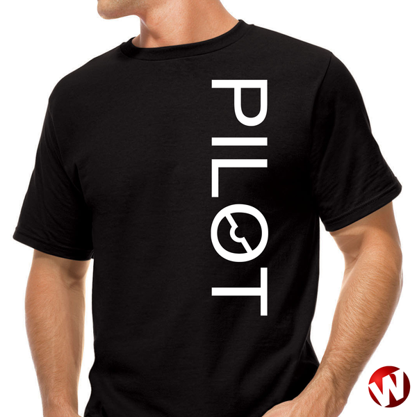 PILOT (vertical graphic, white ink, black t-shirt). Windtee aviation t-shirts and custom graphics.
