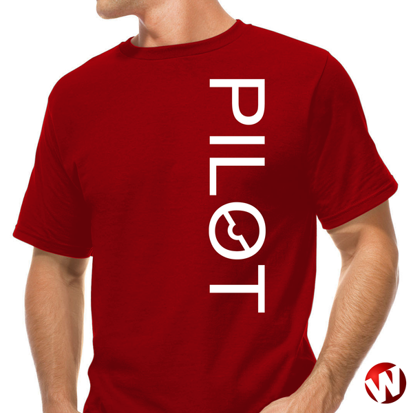 PILOT (vertical graphic, white ink, red t-shirt). Windtee aviation t-shirts and custom graphics.
