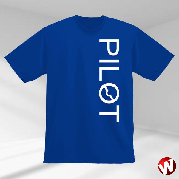 PILOT (vertical graphic, white ink, royal t-shirt). Windtee aviation t-shirts and custom graphics.