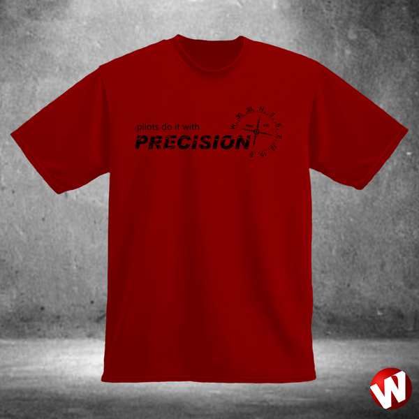 Pilots Do It With Precision (black ink, red t-shirt). Windtee aviation t-shirts and custom graphics.