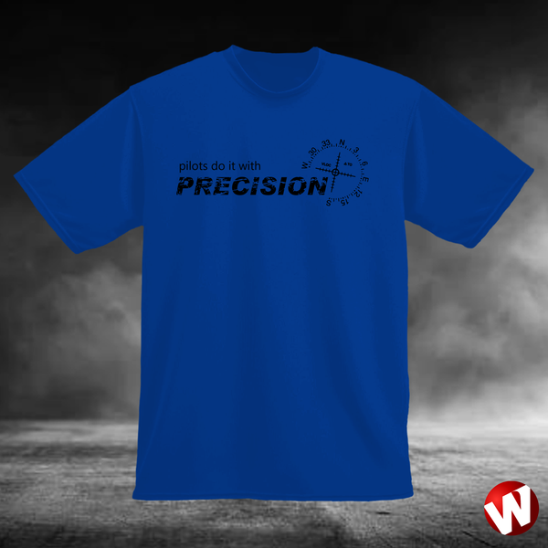Pilots Do It With Precision (black ink, royal t-shirt). Windtee aviation t-shirts and custom graphics.