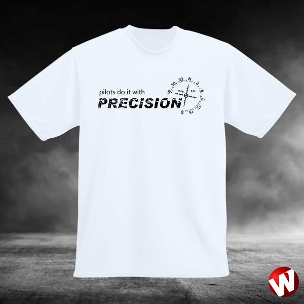Pilots Do It With Precision (black ink, white t-shirt). Windtee aviation t-shirts and custom graphics.