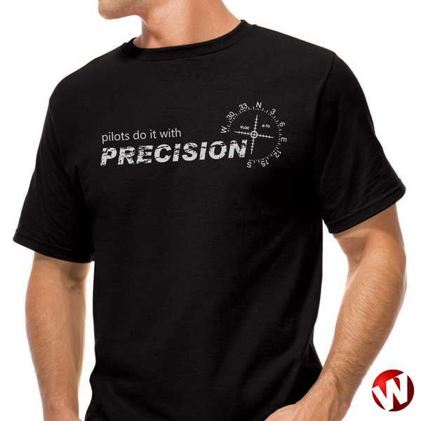 Pilots Do It With Precision (gray ink, black t-shirt). Windtee aviation t-shirts and custom graphics.