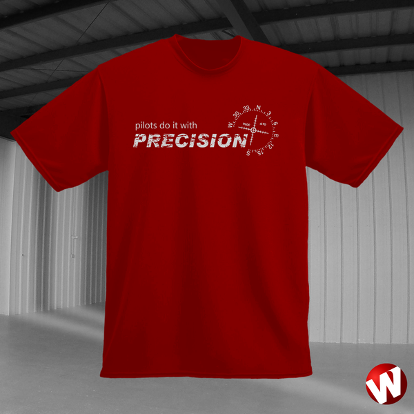 Pilots Do It With Precision (gray ink, red t-shirt). Windtee aviation t-shirts and custom graphics.