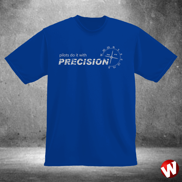 Pilots Do It With Precision (gray ink, royal t-shirt). Windtee aviation t-shirts and custom graphics.