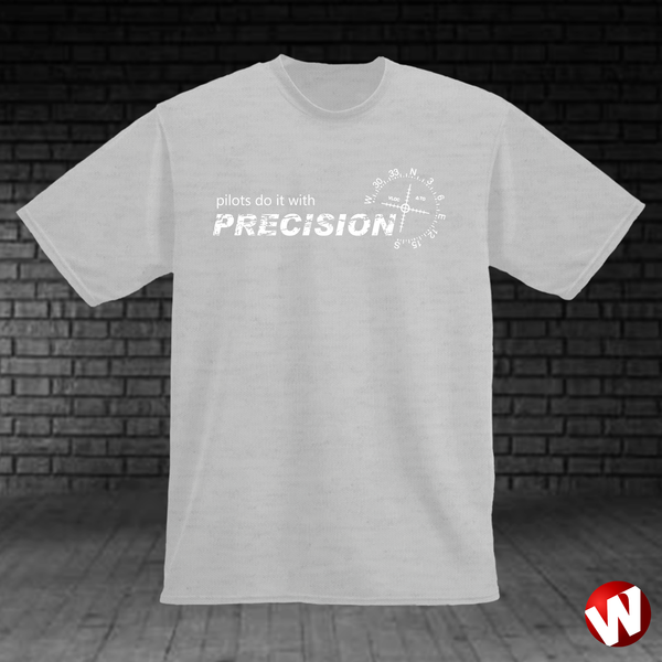 Pilots Do It With Precision (white ink, ash t-shirt). Windtee aviation t-shirts and custom graphics.