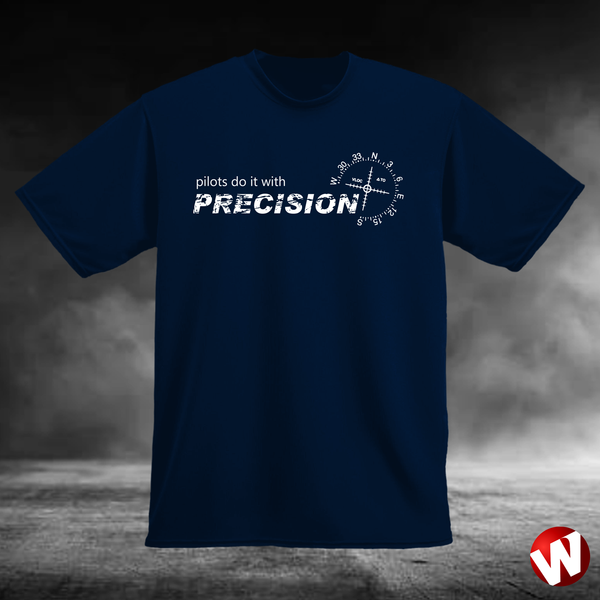 Pilots Do It With Precision (white ink, navy t-shirt). Windtee aviation t-shirts and custom graphics.