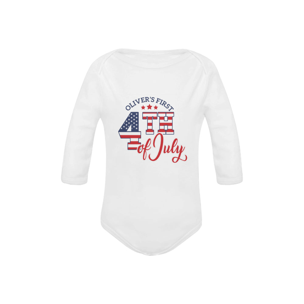 Personalized First 4th Of July Organic Onesie by Toddler Inc