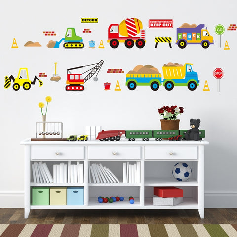 Image of Construction Trucks Wall Decal