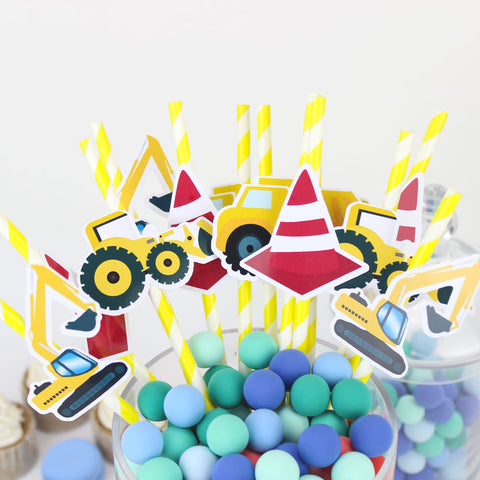 Image of Cute Construction Themed Straws