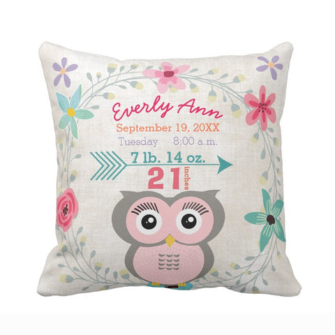 Image of Adorable Customized Owl Pillow Cover