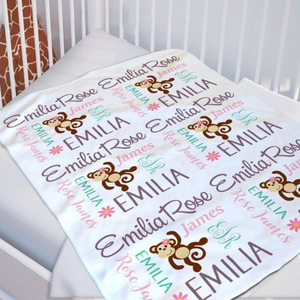 Customized Monkey Baby Blanket