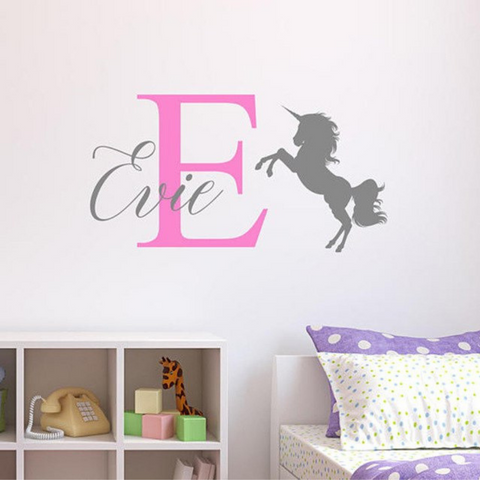 Cute Personalized Unicorn Wall Decal