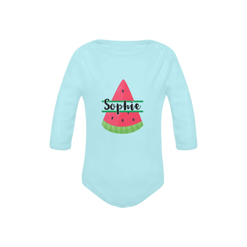 Image of Personalised Summer Fruits Long Sleeve Onesie by Toddler Inc