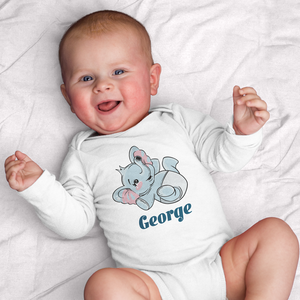 Personalized Baby Elephant Diaper Onesie