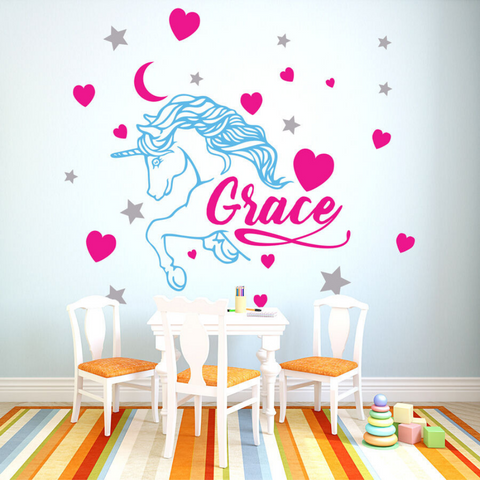Personalized Heart Unicorn Wall Decal