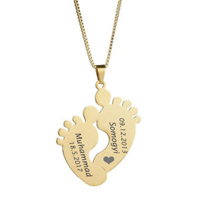 Stylish Customized Baby Feet Necklace