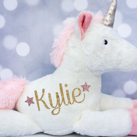 Personalized Cute Pink Unicorn Stuffed Toy